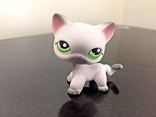 Littlest Pet Shop Cat #125 Short Hair White Grey Siamese Green Eyes USA Seller