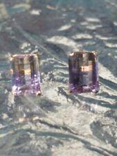 Ametrine Octagon Cut Stud Earrings 14kt Solid Yellow Gold