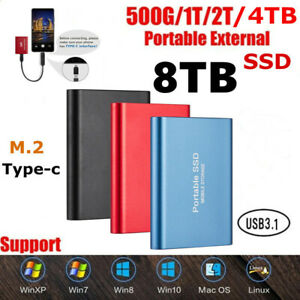 USB 3.1 8TB Portable External Hard Drive Disks SSD Solid State Drives PC Laptop