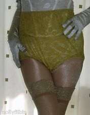 Vintage style marigold sheer lace granny full briefs knickers panties size large