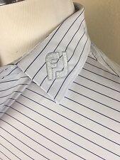 Footjoy Golf Polo Shirt FJ Collar Striped Blue White Valero Texas Open Large L