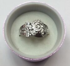 REAL STERLING SILVER Jesus with Cross Cubic Zirconia RING SZ 12 / 6.7g