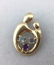 14K YELLOW GOLD MOTHER AND CHILD PENDANT WITH GEMSTONES