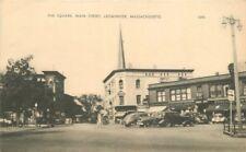 American Autos 1930s Square Main Street Leominster Massachusetts postcard 2581