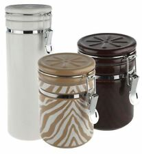 NEW Isaac Mizrahi Solid and Zebra Pattern Ceramic Canisters Pasta K30516 QVC