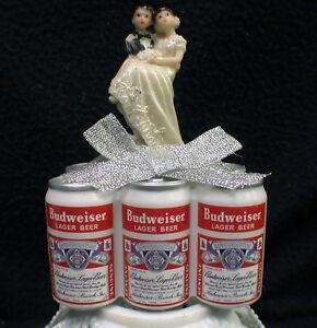 BUDWEISER Beer Lover Wedding Cake topper Groom top. Funny 6 Pack Bride Figure