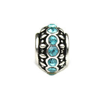 Jewelsavers Aquamarine Crystal Rondelle Charm Bead Fit Charm Bead Bracelet