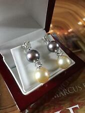 NEW 18CT GOLD 1.35CT DIAMOND TAHITIAN GOLDEN SOUTH SEA PEARL DROP EARRINGS -