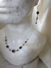 Ethnic style CELTIC ROSE NECKLACE EARRINGS BRACELET AMETHYST gemstone goth gypsy