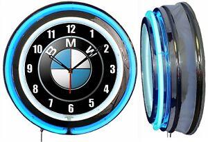 "BMW 19"" Double Neon Clock Blue Neon Man Cave Garage Chrome Finish M Series"