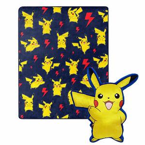 Pokemon Pikachu Lightning Zap 40 x 50 Silk Touch with Plush Hugger Blue