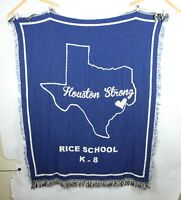 Houston Strong Rice School K - 8 Throw Blanket Blue Cream Fringe Texas Cotton