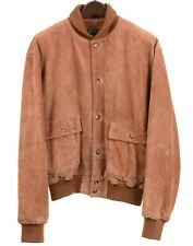 Polo Ralph Lauren Brown Suede Leather Plaid Lined Patch Pockets Bomber Jacket L