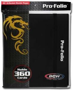 BCW PRO-FOLIO 9-POCKET ALBUM - BLACK (Holds 360 Cards 9 Pocket Double Pages