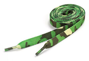 Flat Shoelaces Camo Army Skate Shoe Laces Green Woodland Camouflage