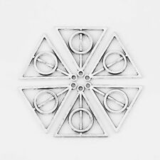 30Pcs Antiqu Silver Small Deathly Hallows Symbol Sign Charms Pendants Beads 13mm
