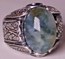 925 Sterling Silver steel pen craft, Men's Ring, mossy agate natural stone