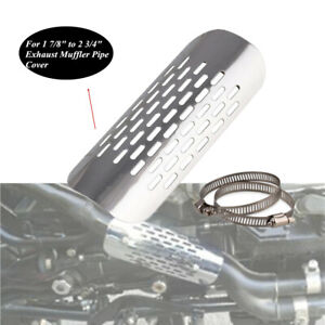 """Chrome Motorcycle Heat Shield Durable 1 7/8""""to2 3/4""""Exhaust Muffler Pipe Cover"""