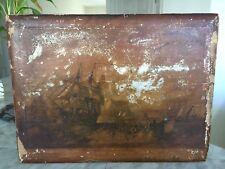 "Antique Victorian Wood Box Painted By J.W. CARMICHAEL ""HOMEWARD BOUND"" Scene"