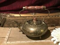 "Vintage Brass Footed Teapot w/ Wood Handle Etched Leaf Design 6 1/2""x6"""