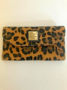 "Dooney & Bourke Leopard Print Wallet 6 Card Slots 2 Bill Slots Rare Large 7.5x4"""