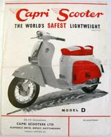 CAPRI Scooter Models D, S, P  1960s Original Sales Sheet