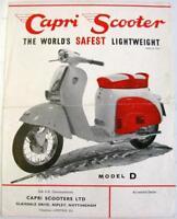 CAPRI Scooter Models D, S, P  1960s Original Sales Sheet