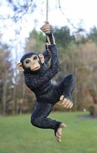 Large Hanging Monkey Garden Ornament Rope Swinging Chimp Climbing Animal Decor