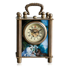 Xmas Antique Painted Retro Mechanical Hand Wind Stand Watch Home Docor+Gift Box