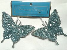 "act Light Blue and Silver Glitter Butterflies Christmas Ornaments-4""-Very Nice"