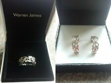 Sterling Silver Diamond flash ring and earrings New in boxes