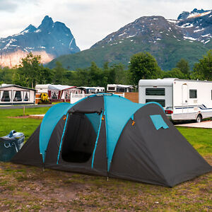 4 Man Family Tent Camping w/ 3 Rooms Fibreglass Poles 3000m Polyester