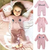 Newborn Infant Baby Girl Kids Long Jumpsuit Pink Romper Bodysuit Clothes Outfits