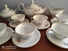 Servizio antico 6 tazze da te porcellana dipinta filo oro Thun Cecoslovacchia
