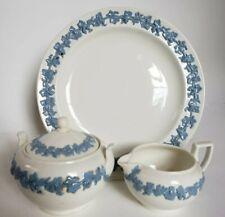 Wedgwood EMBOSSED QUEENS WARE Grape Garland Blue on Ivory Creamer Sugar & Plate