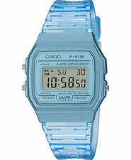 Casio F91WS-2, Digital Chronograph Watch, Blue Resin Band, Alarm, Date