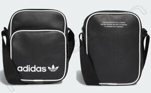 adidas Originals Unisex Black Faux Leather Mini Cross-body Shoulder Bag *NEW