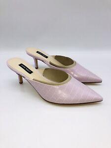Nine West Women's Ali 3 Pointed Toe Dress Mules - Light Purple Croc US 7M