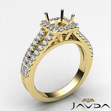 Princess Semi Mount Diamond Engagement 18k Yellow Gold Halo Prong Ring 0.75Ct