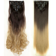 Ombre Clip in Hair Extensions One Piece Brown Black Blonde 9colors for human F74