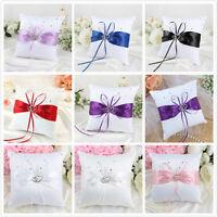Satin Bowknot Wedding Ring Bearer Cushion Pillow Double Heart Diamond Supply