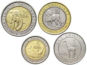 KENYA 4 COINS SET FAUNA  ANIMALS LION ELEPHANT RHINO GIRAFFE BIMETAL 2018 UNC
