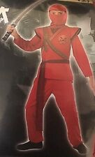 Ninja Warriors Red Dragon Warrior Ninja Costume Halloween Boys Sz L 10-12 Nip