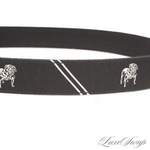 NWOT Polo Ralph Lauren Black Bulldog Repp Stripe Ribbon Leather Tab Belt 34 NR