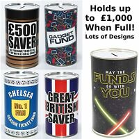 Large Savings Tin - £500 Saver Fund, Keep Calm Fund - Novelty Money Saving Tins