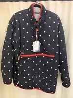 Size L Simply Southern Reversible 1/4 Zip Button Black Polka Dot And Fur Jacket