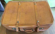 Leder Koffer braun Vintage Antiklook 70er Jahre Oldtimer Cabrio ca. 68x47x22 cm.