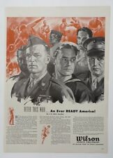 Original Print Ad 1943 WILSON Sports Equipment Every Ready America Armed Forces