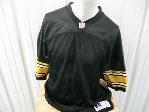 VINTAGE AUTHENTIC RUSSELL ATHLETIC PITTSBURGH STEELERS BLANK BLACK 48/XL JERSEY