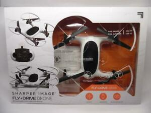 """Sharper Image 7"""" Rechargeable Fly + Drive Drone, Fly in the Sky, Drive on Land"""
